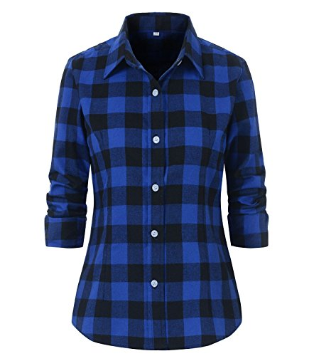 Benibos Women's Check Flannel Plaid Shirt at Amazon Women's ...