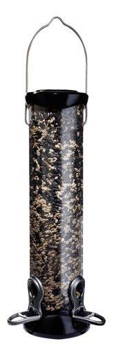 Droll Yankees Onyx Nyjer Sunflower Tube Bird Feeder 12in 2 Port