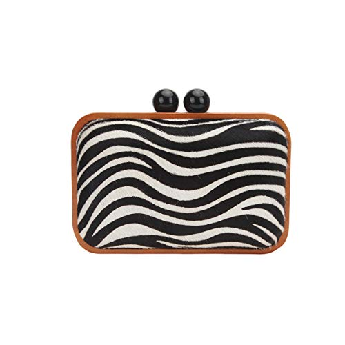 Fawziya Kisslock Wood Zebra Clutch Purses For Women Designer-White ()