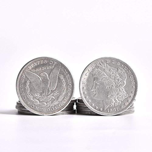 Steel/Copper Morgan Dollar (3.8cm Dia) Trick,Copy Coin,Magic Tricks,Props,Accessories Magic,Appearing/Disappearing,Illusion (10 Pcs Steel Morgan - Of Tricks Coin Hand Sleight