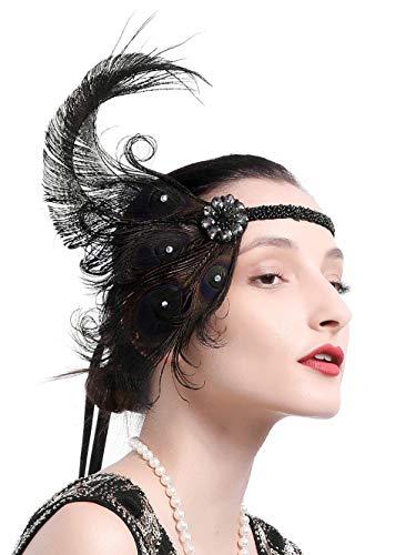 Zivyes 1920s Accessories Peacock Feather Headband Women's Costume Headwear Hat Accessories Flapper Wedding Headpiece (Color 3-Black)]()