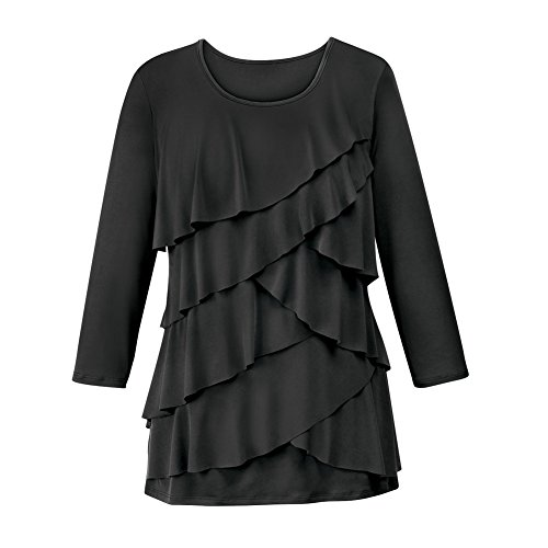 Ruffle Front Top - Women's Ruffle Front Long Sleeve Scoop Neck Top, Black, X-Large - Made in The USA