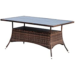 "Outsunny 60"" Outdoor Slat Top Rattan Dining Table - Brown"