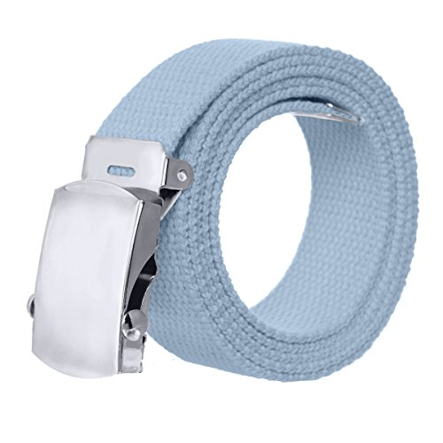 [Canvas Military Style Belt with Silver Buckle – Powder Blue] (Canvas Belt Silver Buckle)