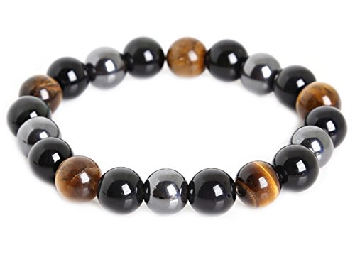 Peterpanshop Tiger Eye & Hematite & Black Obsidian 10mm Beaded Bracelet Buddha Healing Rope Man Stone Uni