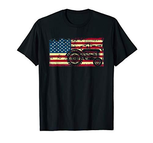 American Flag Tractor Farmer T-Shirt Funny Farming Gift