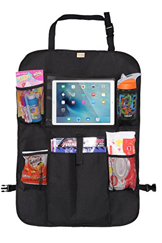 "Zohzo Car Back Seat Organizer with Tablet Holder - Touch Screen Pocket for Android & iOS Tablets up to 10.5"" - Multipurpose Use as Auto Seat Back Protector, Kick Mat, Car Organizer"