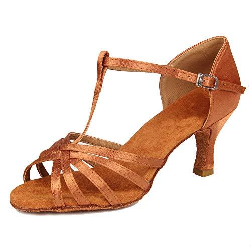 Women's 5cm Rumba Brown Model Dance Standard Ballroom Chacha SWDZM Shoes Salsa 7 Latin 403 Heel 4w6fdnq