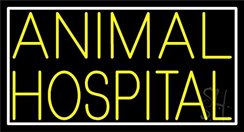 Sign Store N105-4738-outdoor 37 x 3.5 x 20 in. Animal Hospital Border Neon Sign - Yellow And - Hospital Animal Border