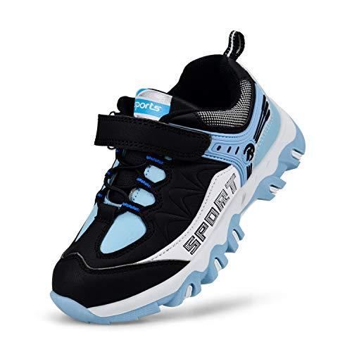 Kostiko Kids Waterproof Hiking Tennis Shoes Ultra Breathable Lightweight Athletic Walking Running Sport Shoes Boys Girls Sneakers Blue White Black 6 M US Big Kid (Sport Shoes For Children)