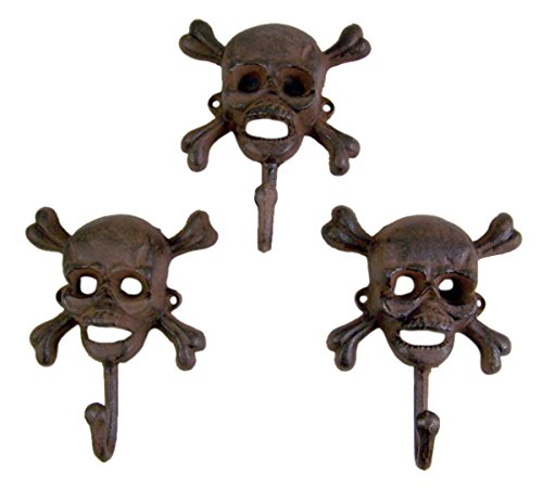 Skull and Cross Bones Cast Iron Wall Hook 6 1/2 Inch (Set of 3)