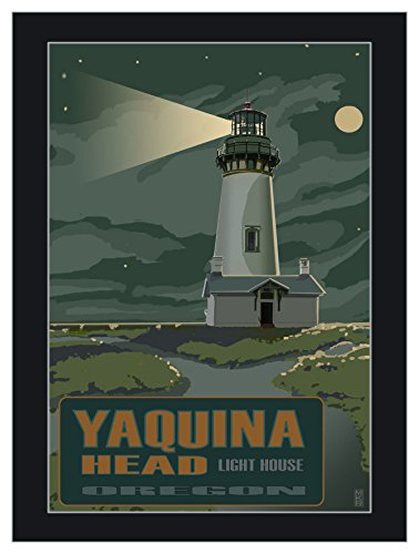 Yaquina Head Lighthouse Newport Oregon Night Travel Art Print Poster by Mike Rangner (9