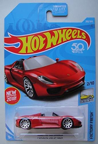 Hot Wheels Factory Fresh 2/10, RED Porsche 918 Spyder 292/365 50TH Anniversary Card