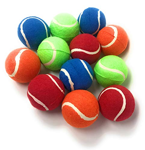 Sea View Treasures Bulk 12 Pack Dog Tennis Ball Assortment - Tough and Durable in Four Colors - NOT CHEW Toys