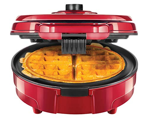 Chefman Anti-Overflow Belgian Waffle Maker w Shade Selector Mess Free Moat, Round Waffle-Iron w Nonstick Plates Cool Touch Handle, Measuring Cup Included, Red