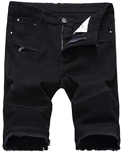 Biker Denim - HENGAO Men's Slim Fit Moto Biker Denim Jeans Shorts, 3305 Black, W34