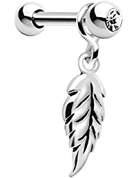 925 Silver Falling Feather Dangle Cartilage Earring