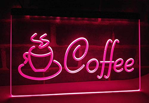 Coffee Cup Cappuccino Cafe Bar Neon Sign for Your Store 11.8inch x 7.8inch - Pink Colour ()