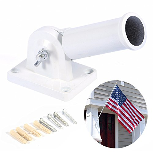 JLYSHOP Flag Bracket Holder Wall Mount Multi-Position Adjustable Metal & Plastic Flag Pole with Screws - Flagpole Bracket Wall Mount
