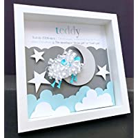Personalized Name Origin and Meaning Shadowbox Frame with Counting Sheep Custom Art Newborn Baby Shower Nursery Wall Art Gift