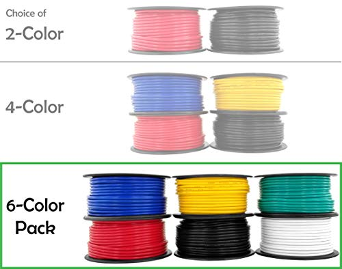 - 12 Gauge 6 Rolls of 100 Feet (600 ft Total) Primary Wire CCA Cable for Car Audio Video Stereo Amplifier Remote Automotive Trailer Drone Wiring (Also in 2 or 4 Color Combo)