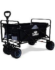 TMZ All Terrain Utility Folding Wagon, Collapsible Garden Cart, Heavy Duty Beach Wagon, for Shopping and Outdoor Activities (Black)
