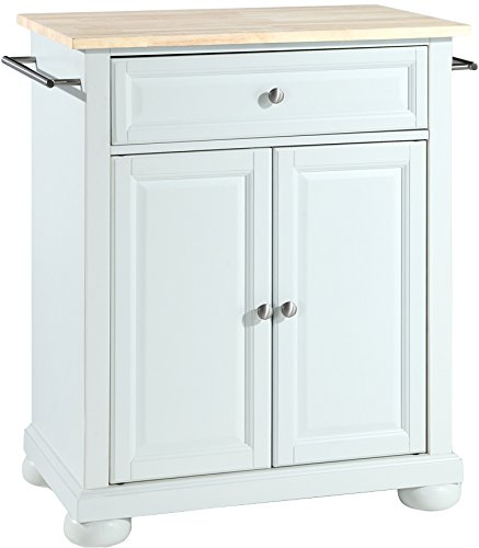 Crosley Furniture Alexandria Cuisine Kitchen Island with Natural Wood Top - White - Crosley Kitchen