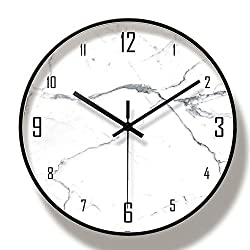 Wall Clocks Battery Operated Silent Sweep Non-Ticking,Glass Cover Marble Pattern Modern Style 12In Metal White