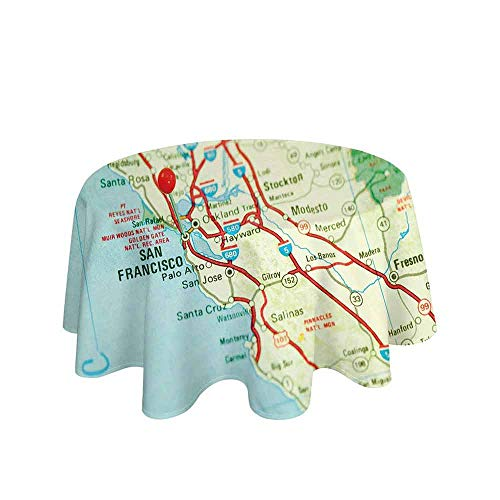 Curioly Map Waterproof Anti-Wrinkle no Pollution Vintage Map of San Francisco Bay Area with Red Pin City Travel Location Table Cloth D35 Inch Light Blue Pale Green Red