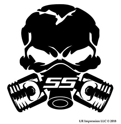 UR Impressions MBlk SS Piston Gas Mask Skull Decal Vinyl Sticker Graphics for Cars Trucks SUV Vans Walls Windows Laptop Matte Black 5.5 Inch UR691-MB
