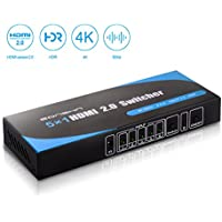 HDMI Switch(4K 60HZ),5 in 1 out HDMI Switcher,Support HDMI 2.0 Switch UHD HDCP2.2 HDR 3D with IR Remote for TV/Projector/Laptop/PS4 Etc by EONSHN