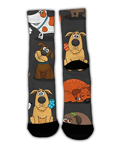 GLORY ART Novelty Gift - Cute Bulldog Corgi and Pet Dogs - Christmas Holiday Socks Slipper Socks Fun Colorful Dress Socks, Men Women Warm Soft Winter Socks