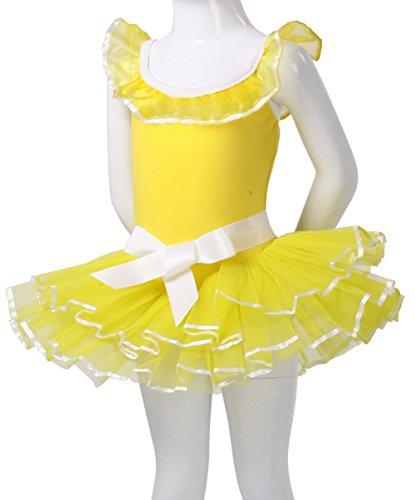 AvaCostume Girls Dance Costumes Camisole Tutu Dress, Yellow, 3T-4T