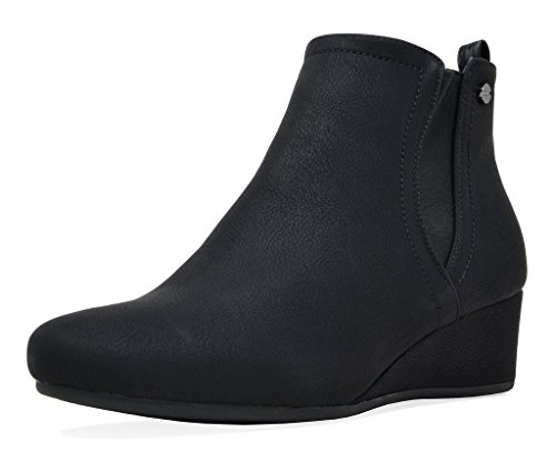 (DREAM PAIRS Women's New Zoie Black Low Wedge Heel Ankle Boots Size 7.5 B(M) US)