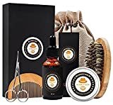 Cheap XIKEZAN Mens gifts for Men Beard Care Grooming & Trimming Kit Unscented Beard Conditioner Oil + Mustache & Beard Comb+Balm Wax+Brush+Mustache Scissors for Styling Shaping & Growth
