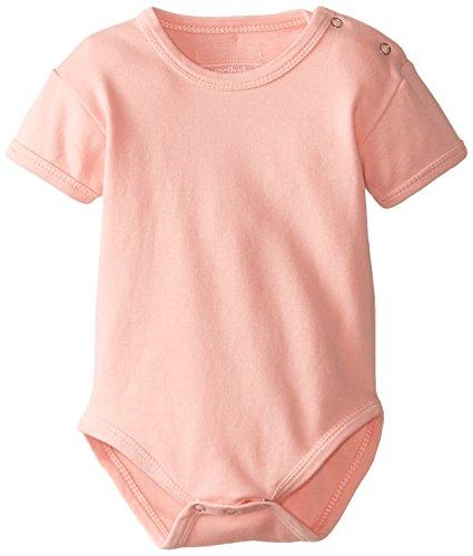 L'ovedbaby Baby-Girls Newborn Organic Short-Sleeve Bodysuit, Coral, 9-12 Months