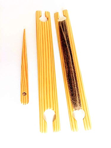 2 Pack of 12 Inch Weaving Stick Shuttles Free Weaving Needle 3 Tools Total