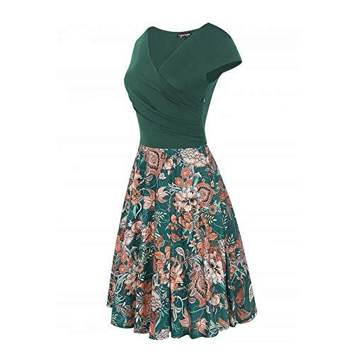 Criss Neck Women's V Swing Sleeve Dress Green Necklines Dress Stretch Casual Summer Work Party Floral Fp Cap Cross wfwSxdI