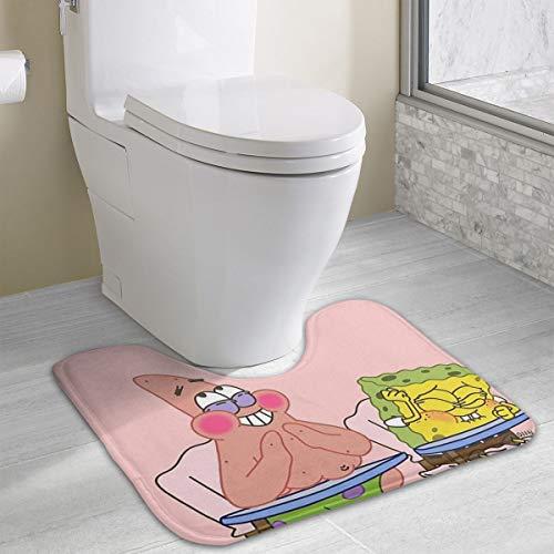 (Contour Bath Rug Spongebob Squarepants and Pickstar U-Shaped Toilet Floor Rug Shower Mat Non Slip Bathroom Carpet 19.3