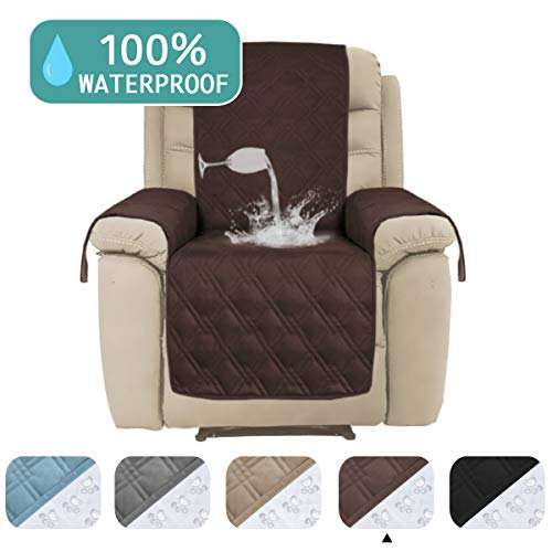 No Arm Recliner Chair - 100% Water Proof Recliner Chair Covers Pet Furniture Cover for Leather Recliner Protector Slip Covers for Pets Cats Couch Covers with Non Slip Backing (Oversized Recliner: Brown) - 91