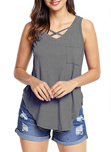 roswear Women's Casual Criss Cross V Neck Side Slits Tank Top Gray Large