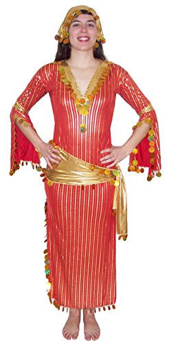Women Belly Dance Baladi Galabeya Dress One Size(Red& Gold) - Galabeya Belly Dance Costume