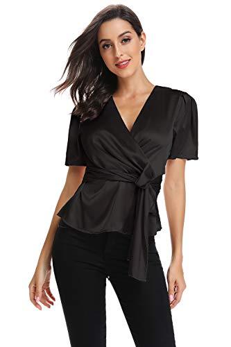 - Elegant V Neck T-Shirt Women Summer Peplum Tops for Women Tunic Silk Tie Knot Loose Fit Blouse Short Sleeve Tops Black