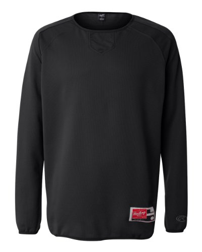 - Rawlings Men's Flatback Mesh Long Sleeve Fleece Pullover (Black) (2X-Large)