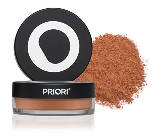 Priori All-Natural Mineral Powder Foundation SPF 25 - Antioxidant Enriched, Broad Spectrum Sunscreen, Flawless Coverage Mineral Makeup - Shade 5 Warm Tan