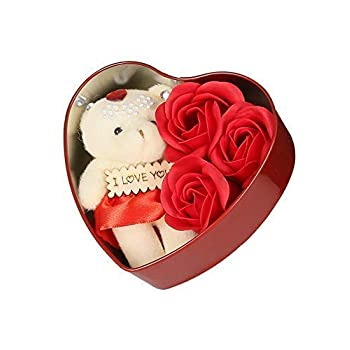 Mixunbox Fabric Heart Shaped Box With Teddy and Roses