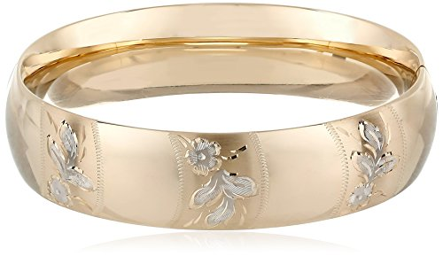 (14k Yellow Gold-Filled Engraved Flower Design Hinged Bangle)