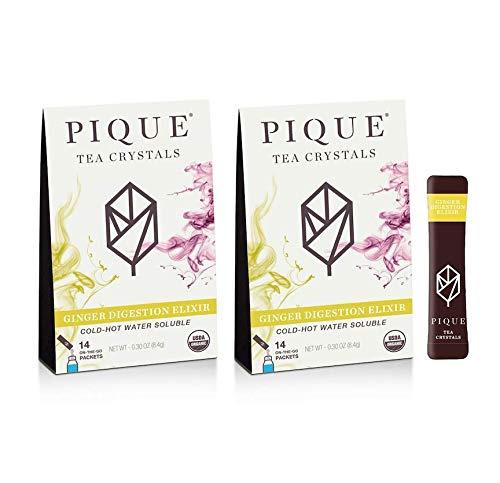 Pique Tea Organic Ginger Digestion Elixir - Gut Health, Fasting, Calm - 28 Single Serve Sticks (Pack of 2)