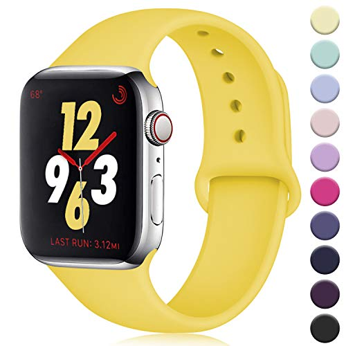 DaQin Compatible with Apple Watch Band 40mm 38mm, Sport Silicone Replacement Bands for iWatch Series 5 Series 4 Series 3/2/1, Mango Yellow, S/M