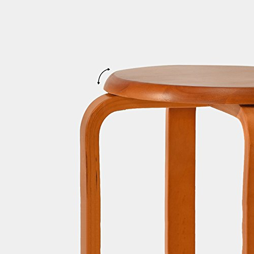 Solid wood stools, creative dining stools, fashion benches, home table and stools, low stools, round stools, multicolor options, easy installation, convenient stacking, D: 31cm, H: 45cm (Color : B) by PM-Stools (Image #6)